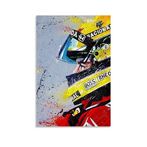 Póster de Ayrton Senna, cuadro decorativo, lienzo para pared, salón, dormitorio, 40 x 60 cm