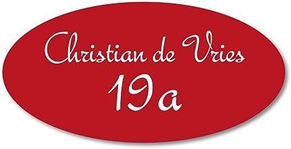 Naamplaatje rood ovaal t.b.v. brievenbus, 12x6 cm