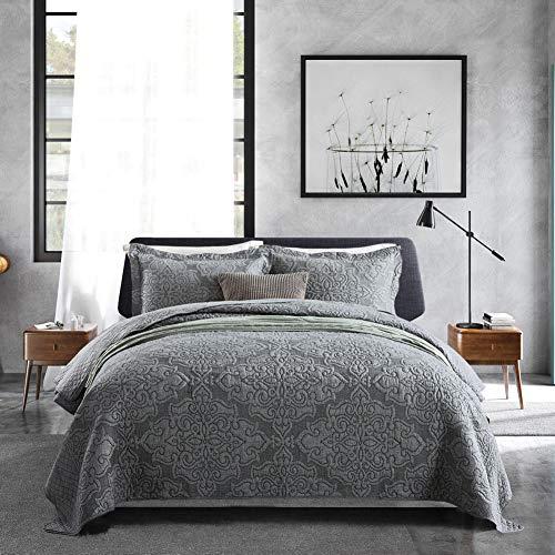 Travan 3-Piece King Quilt Set Quilted Bedspread Oversized Microfiber Lightweight Bedspread Coverlet Set with Shams Bedding Set for All Season, Grey, King