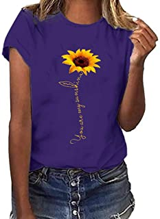 Womens Sunflower Shirts, F_Gotal Plus Size Fashion Summer Short Sleeve Crew Neck Casual Tunic T-Shirts Blouse Tops