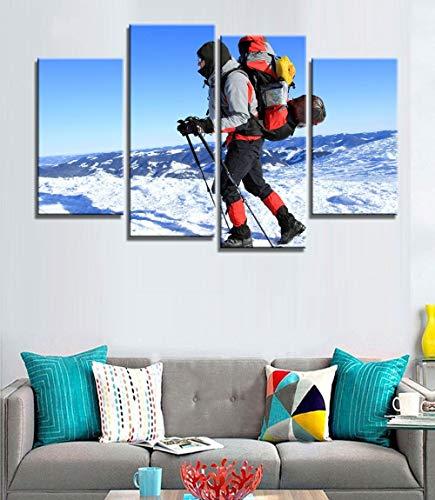 ANTAIBM® Kinderzimmer Schlafzimmer dekorative 4 Malerei Holzrahmen - verschiedene Größen - verschiedene Stile4 Stück Skifahren Skifahrer Wandkunst Bild Künstlerisch gedruckte Zeichnung auf Leinwand ge