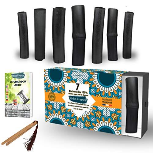 Rinko France| Binchotan de Bambou 7 Bâton de Charbon Actif de Bambou Bio pour Purification d'eau 100% Efficace et Eco-Responsable Anti Mauvais Gout et avec Pince élégante en Bambou et E-book Offert