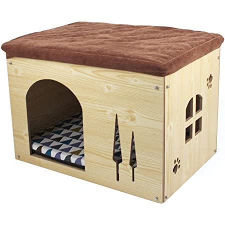 SONGWAY Cat Condos for Cats - Cat Shelter, Cat House for Indoor Cats, Dog House, Dog Kennel for Small Dogs, Footstool and Ottoman Small, Natural Wood