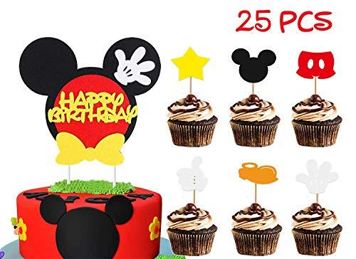 BeYumi Mickey inspiriert Geburtstagstorte Topper für Kinder, 25 Stück Cupcake Dekoration Lieferungen für Mickey Motto Party