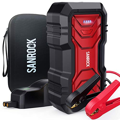SANROCK Car Battery Jump Starter 2500A Peak 22800mAh (up to 8.0L Gas/8.0L Diesel with USB Qick Charge, Type-C Cable, Flashlight, 12V Power Pack Car Battery Charger Jump Starter for Car, Truck, SUV