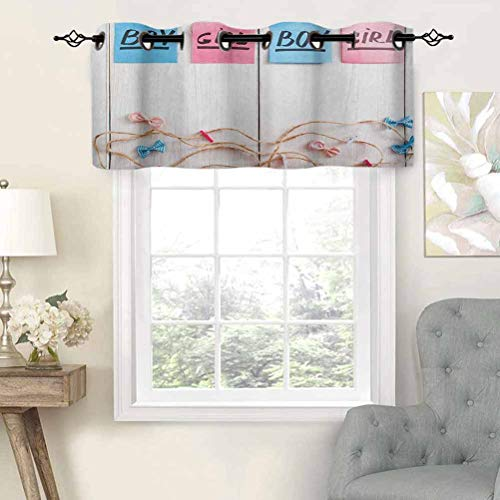 Hiiiman Elegant Grommet Top Curtain Valances Colorful Stickers Garland and Ribbons Greetings on Wooden Seem Background, Set of 2, 42'x36' Home Decorative for Boys-Girls Room