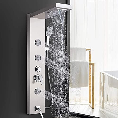 SUGU 304 Edelstahl Duschpaneel Duschsystem mit Regendusche, Wasserfall Duschkopf,Handbrause,Badewannenarmatur, 3xMassagedüsen 5 Funktion für Badezimmer
