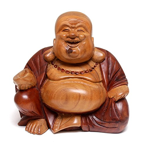 NOVICA Hand Carved Natural Acacia Wood Buddha Sculpture, 8' Tall, 'Buddha Laughs'