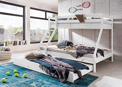 Stapelbed met bedkoffer, hoogslaper, kinderbed, jeugdbed, logeerbed, 90 x 200 cm en 140 x 200 cm, massief grenen wit