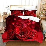SLQL Juego de ropa de cama Anime Themed con diseño de rosas, 3 piezas, funda nórdica y 2 fundas de almohada de microfibra suave 135 x 200 cm