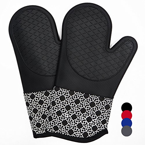 Heat Resistant Silicone Shell Kitchen Oven Mitts for 500 Degrees with Waterproof, Set of 2 Oven Gloves with Cotton Lining for BBQ Cooking Set Baking Grilling Barbecue Microwave Machine Washable Black