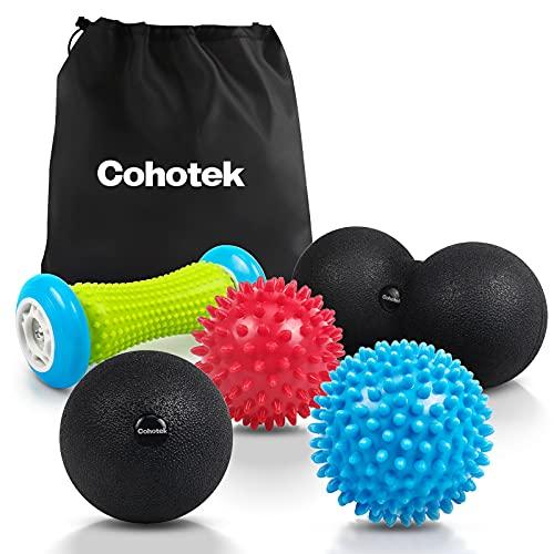 Cohotek Igelball Massage Set, Fußmassage Roller, 2 Massagebälle Fuss mit Noppen für Plantarfasziitis, Duoball und fazienball Ball für tiefenwirksame Massage von Faszien