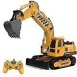 Excavadora RC con mando a distancia de 2,4 GHz, 1/18 metal con control remoto con luz y sonido, regalo para niños y adultos