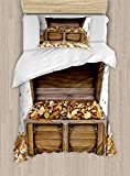 Ambesonne Chest Duvet Cover Set, Wealth Themed Gold Coins Kings Ransom Wooden Box Pirate Treasure Picture, Decorative 2 Piece Bedding Set with 1 Pillow Sham, Twin Size, Umber Earth Yellow