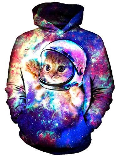 ALISISTER 3D Hoodies Sweatshirt Herren Damen Realistisch Astronaut Katze Muster Kapuzenpullover Pullover Jugendlichen Mädchen Jungen Streetwear Hoody XXL
