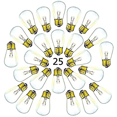 25 Pack of S14 Light Bulbs for String Lights - Fits E27 and E26 Base - 11 Watt Warm Incandescent Replacement Clear Glass Bulbs
