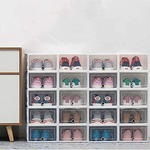 Caja de almacenamiento de zapatos apilable, 20 unidades, organizador de zapatos...
