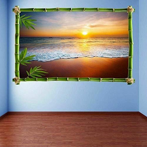 Pegatinas de pared para Puesta de sol Playa Mar Etiquetas engomadas Mural Decal Imprimir Inicio Oficina Decoración