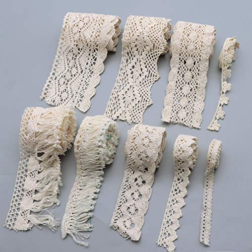 David accessories Lace Trim Ribbon Tape 10 Yards Sewing DIY Craft Lace for Festival Wedding Party Birthday Bridal Shower Decoration and DIY Handmande Accessories (Beige)