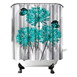 Teal Flower Shower Curtain Aqua Floral Butterfly with Grey Background Bath Curtain Elagant Fabric Bathroon Decor Hooks Included 72'X72'