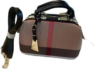 Ladies Hand Bag Women Canvas Leather Handbags Purses Plaid Doctor Bag High Quality Big Capacity Female Shoulder Bag,Black,S