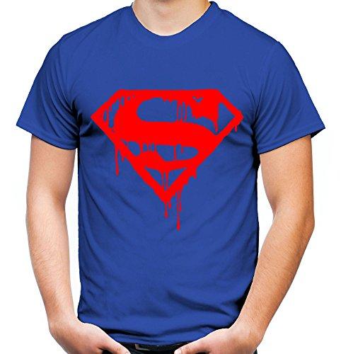 Superman Death Männer und Herren T-Shirt   Spruch Retro Comic Geschenk   Roter Druck (XXL, Blau)