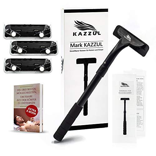 Rückenrasierer-KAZZUL Körperrasierer für Männer mit 3 Ersatzklingen, schmerzlose Haarentfernung, Herrenrasierer mit Griff unter Nass oder Trocken, Körperenthaarung-Rücken, Beine, Brust.