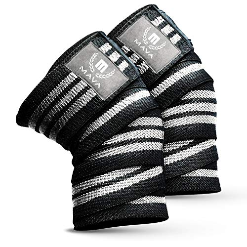 """Mava Sports Knee Wraps (Pair) for Cross Training WODs,Gym Workout,Weightlifting,Fitness & Powerlifting - Knee Straps for Squats - for Men & Women- 72""""-Compression & Elastic Support (Black & White)…"""