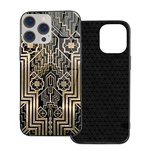 MEUYGOFLZ Compatible con iPhone 12 Pro Max, carcasa resistente de cuerpo completo, carcasa de cristal TPU suave para iPhone 12 Pro Max 6.7 pulgadas, diseño metálico Art Nouveau