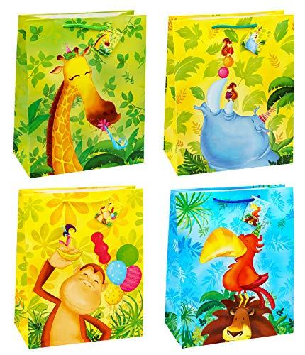 TSI Lot de 12 pochettes cadeau sur le thème de l'enfance 4 modèles Grand format