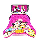 Tsum Tsum Faces Twin/Full Comforter - Super Soft Kids Reversible Bedding features Your Favoirte Tsum Tsum Characters - Fade Resistant Polyester Microfiber Fill (Official Tsum Tsum Product)
