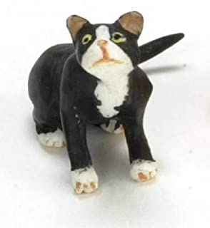 Dolls House Black Cat White Socks Looking Up 1:24 Scale Half Inch Pet
