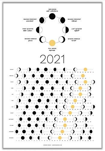 2021 Moon Phase Calendar by Thankful Greetings - Hangable Light Lunar Wall Poster – Full Moon Tracker Wall Art – Moon Lover Gift and Celestial Calendar (SHIPS FLAT)