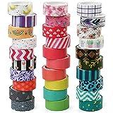 LotFancy 30 Rolls Washi Tape Set, 15mm Wide Colored Masking Tape,...