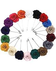 18 piezas hombres Boutonniere Revers Pin Rose Flores surtidos con caja de regalo boda Corpiño Hombre Traje