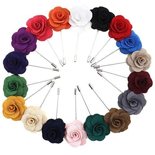 OTOTEC 18-teiliges Blumen-Anstecknadel-Set für Herren, Rosen-Blume, Boutonniere, handgefertigt, für Hochzeit, Party