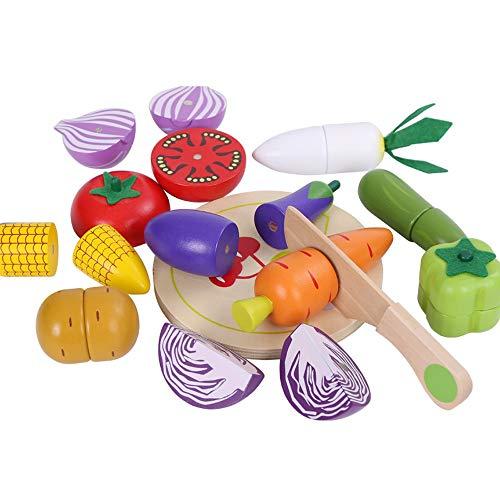 Lihgfw 3-7 Ans Anniversaire for Enfants Cadeaux de Fruits coupés en Bois et légumes coupés Cut Musique magnétiques Légumes bébé Cuisine Cut Toy Enfants Cadeaux de Noël (Color : B)
