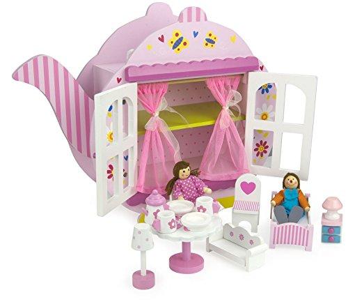 LEOMARK Puppenhaus Teekessel TeeHaus - Pinke Farbe - Holzhaus mit Möbeln und Puppen, Originalmuster, Einfach zu Transportieren, für Kinder