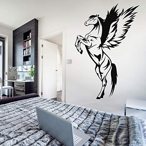 yiyiyaya Abnehmbare Pegasus Wandaufkleber Vinyl Schlafzimmer Wohnkultur Tier Pferd Wandtattoo Kunst Zimmer Wandaufkleber Wohnzimmer WandbildCM...