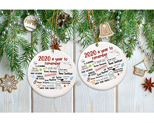 Christmas 2020 The Year of, Quarantine Christmas Ornament, Ceramic Round Ornament, Quarantine Keepsake, 3 Inch