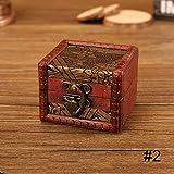 Turbobm Caja de patrón de Moneda de Flor de Madera pequeña Vintage Caja de...