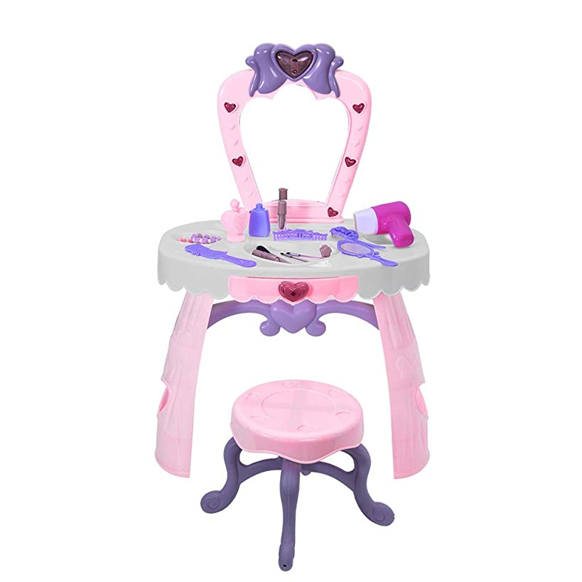Fantasy Vanity Table for Girls, Toddler Beauty Dresser Table Play Set with Lights, Sounds, Chair, Fashion & Makeup Accessories for Kid and Pretend Play, Toy for 2,3,4 yrs Kids (Pink)