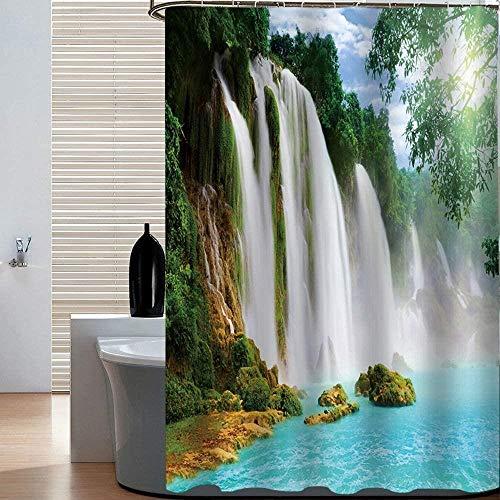 Europese stijl douchegordijn, trekken de kralen uit Shoji landschap badkamer gordijn, shading isolatie, geschikt for de slaapkamer woonkamer keuken badkamer, 3180 * 200, Afmetingen: 150 * 180, Kleur: