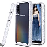 Zectoo Build-in PC Frame Bumper Shock Absorption Clear Phone Case for Samsung Galaxy A50/A50s/a30s, Heavy Duty Full-Body Hybrid Rugged with Screen Protecotr Case for Galaxy A50 2019 Release White