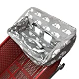Portable 2-in1 Grocery Cart Cover and High Chair Seat Cover for Baby (Grey Elephant)