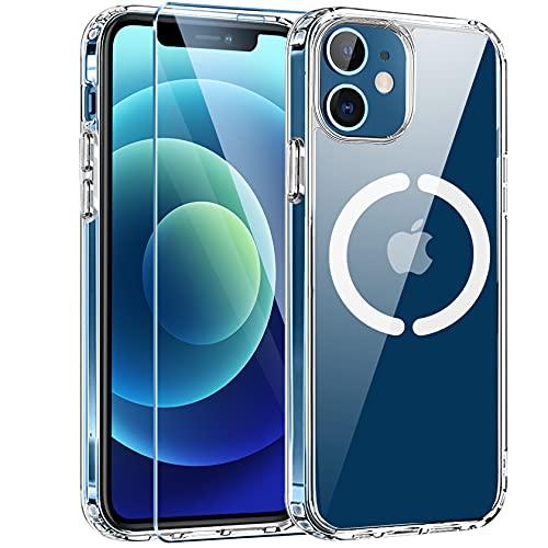 AROYI Funda Compatible con iPhone 12/iPhone 12 Pro con 1 Pieza Vidrio Templado Protector, Carcasa Compatible con MagSafe y Carga Inalámbrica, Transparente