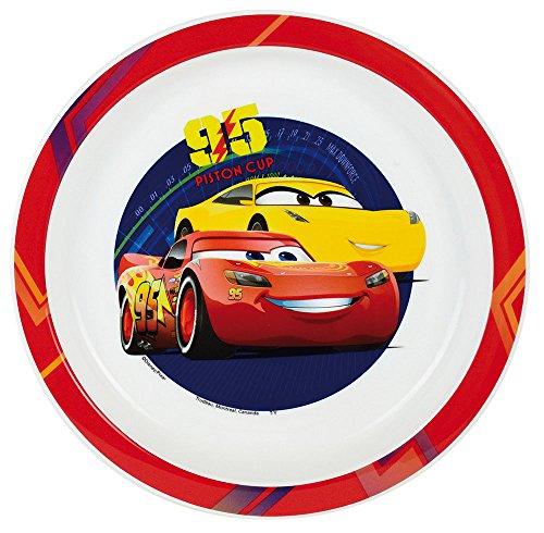 FUN HOUSE 005510 Disney Cars Assiette Micro-ondable pour Enfant, Polypropylène, Rouge, 22 x 22 x 1 cm
