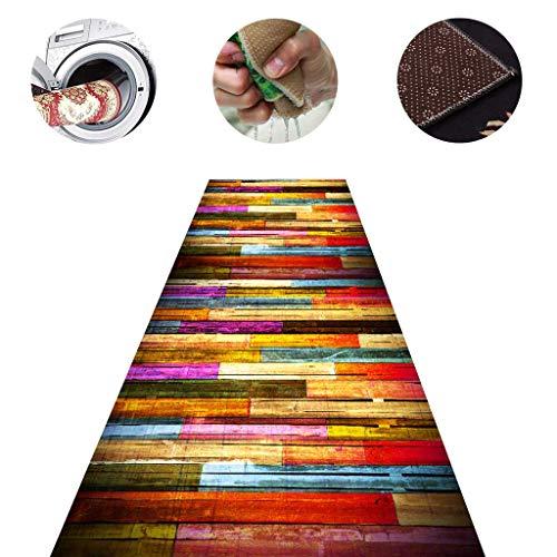 LIUXIUER 3D-Farbholzmaserung Eingang Runner Teppiche Für Flur Teppiche Korridor Treppe Teppich Fußmatten rutschfest Mehrere Größen Anpassbar Schneidbar,1x7m