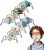 Kids Face Mask Washable Reusable,cotton Face Cover Adjustable,Childrens Two-layer Lightweight Breathable Face Mask (10 PCS)