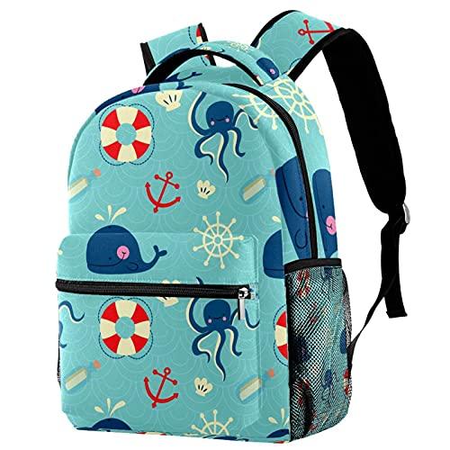 Daypack Ballenas Pulpo Azul Mochila Infantil Impermeable Bolsa para la Escuela Impresión Creativa Mochila de Viaje para Niños y Niñas 25.4x10x30 CM